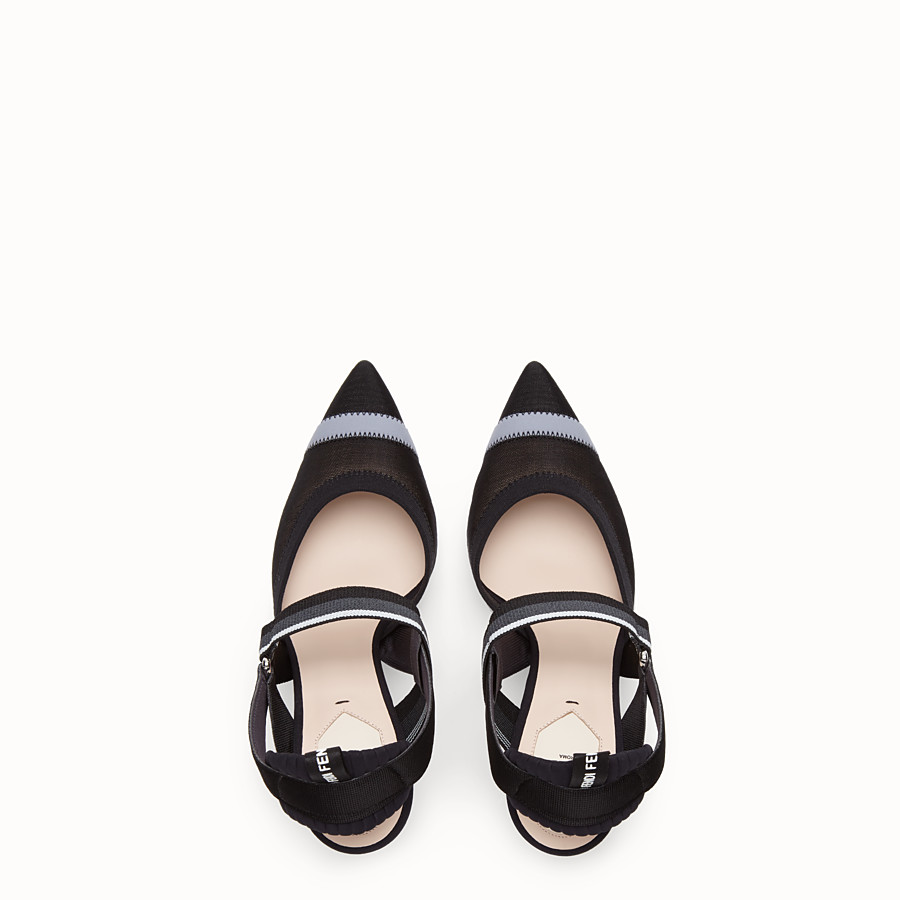 FENDI SLINGBACKS - Colibrì in black mesh - view 4 detail