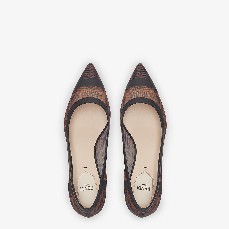 FENDI COLIBRÌ - Black leather and mesh medium-heel court shoes - view 4 detail