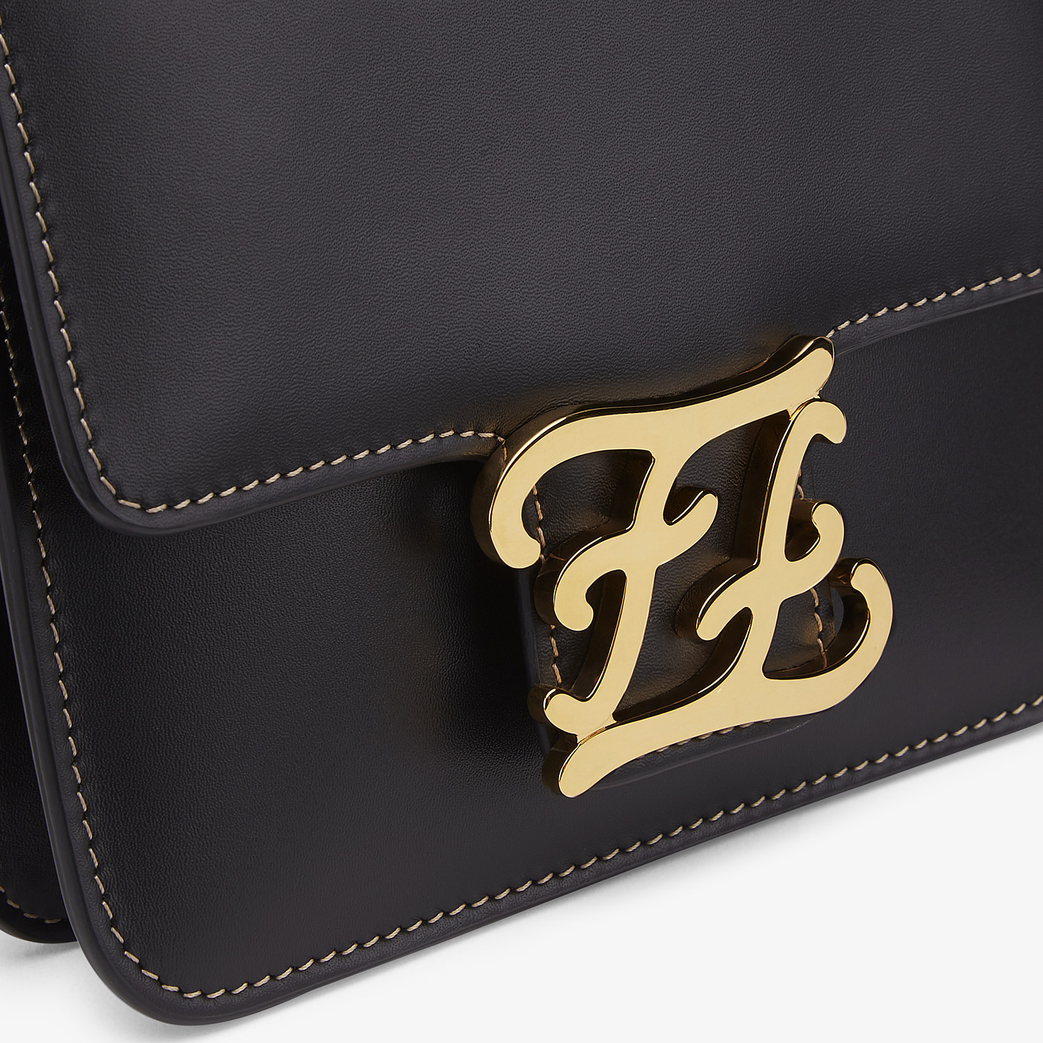 FENDI KARLIGRAPHY - Black leather bag - view 5 detail