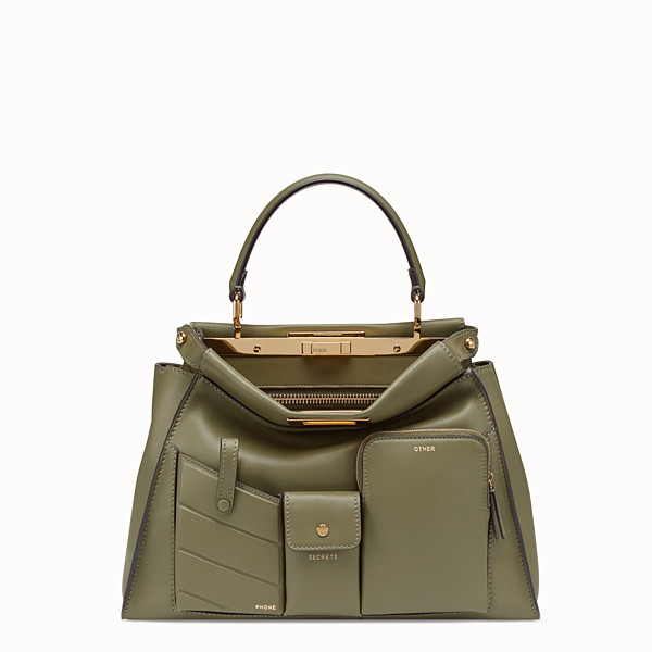 FENDI PEEKABOO REGULAR POCKET - Green leather bag - view 1 small thumbnail