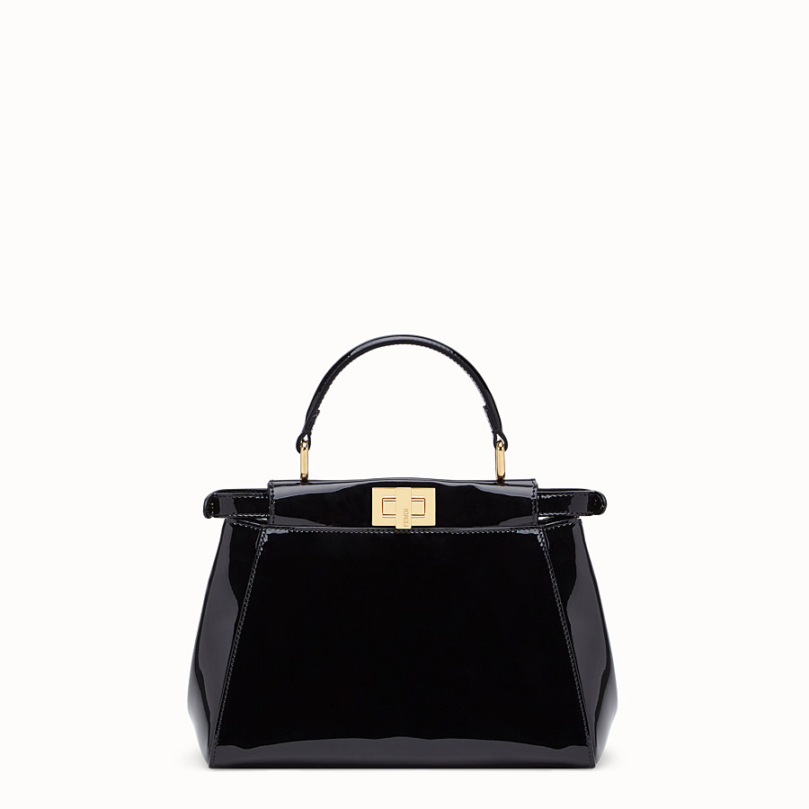 FENDI PEEKABOO ICONIC MINI - Black patent leather bag - view 4 detail