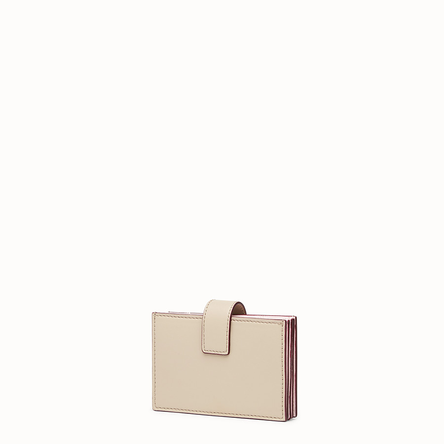 FENDI CARD HOLDER - Beige leather gusseted card holder - view 2 detail