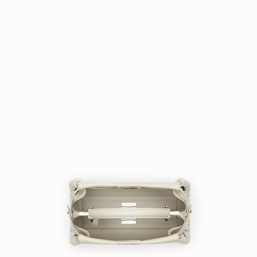 FENDI PEEKABOO MINI - White nappa handbag with weaving - view 4 detail