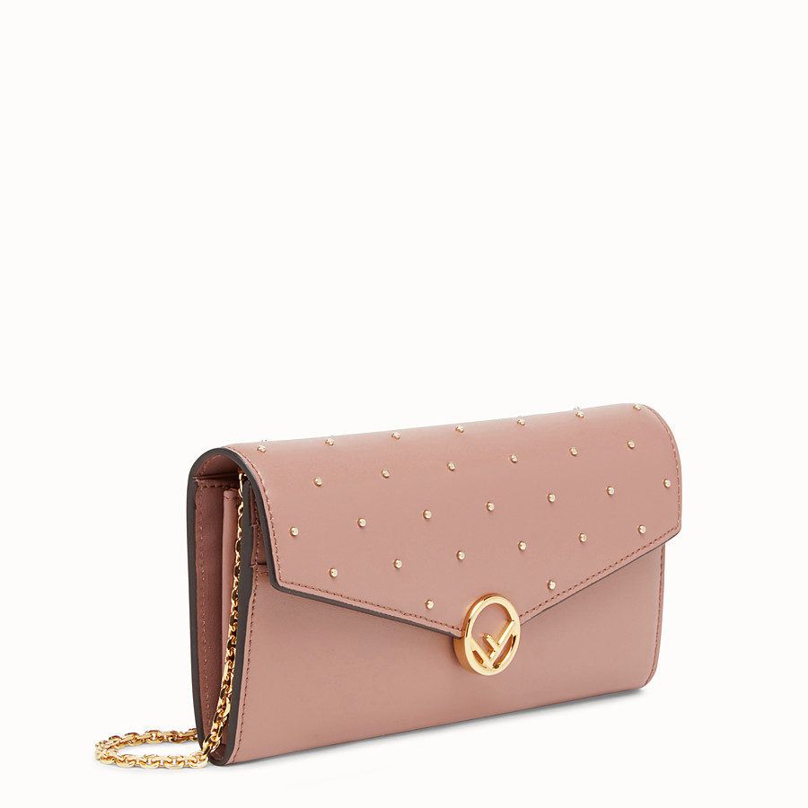 FENDI CONTINENTAL WITH CHAIN - Pink leather wallet - view 2 detail