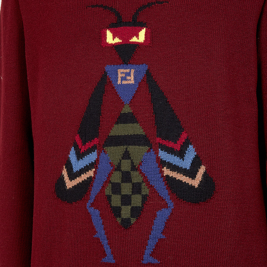 FENDI PULLOVER - Pullover aus Wolle in Bordeaux - view 3 detail