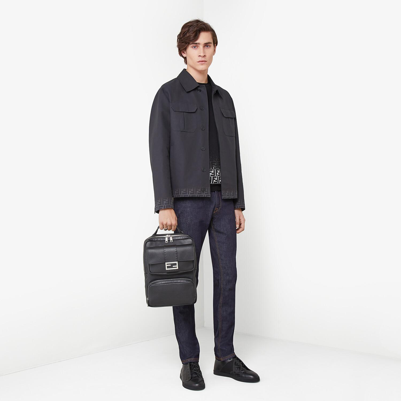 FENDI CARCOAT - Black gabardine jacket - view 4 detail