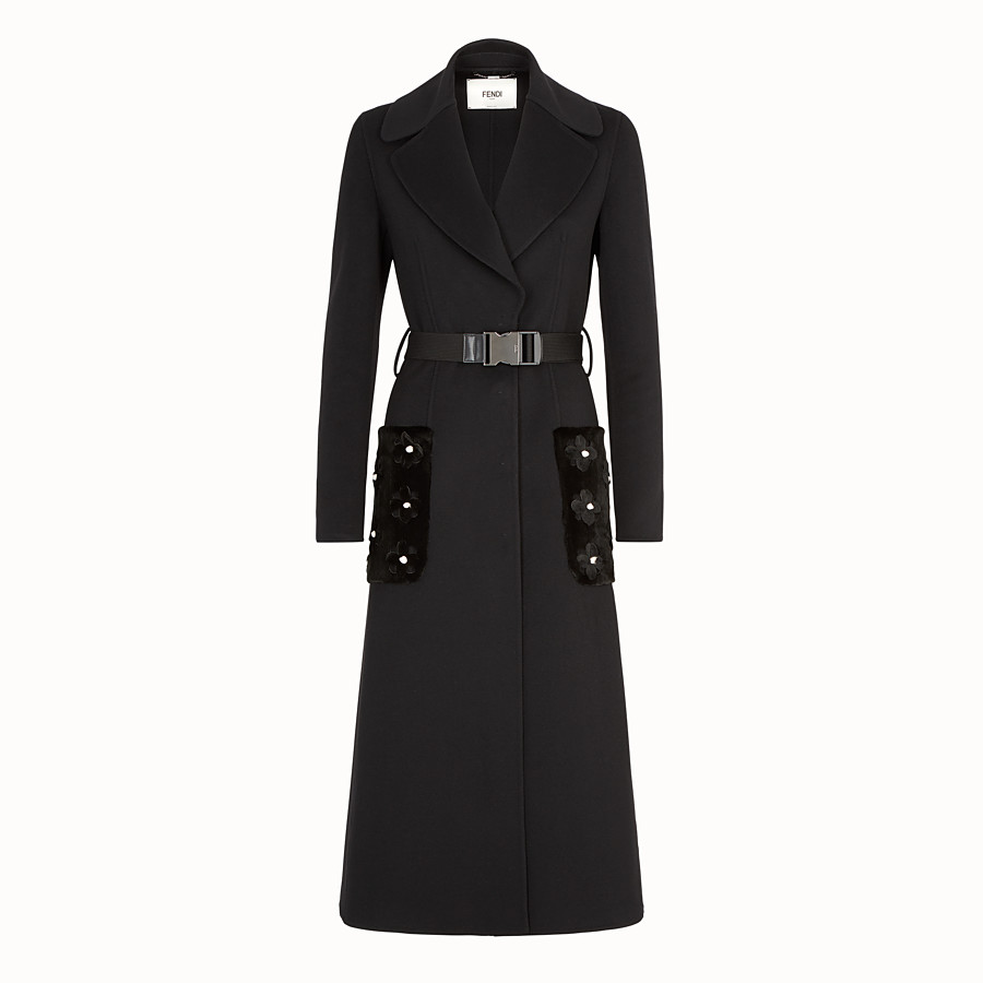 FENDI OVERCOAT - Black cashmere coat - view 1 detail