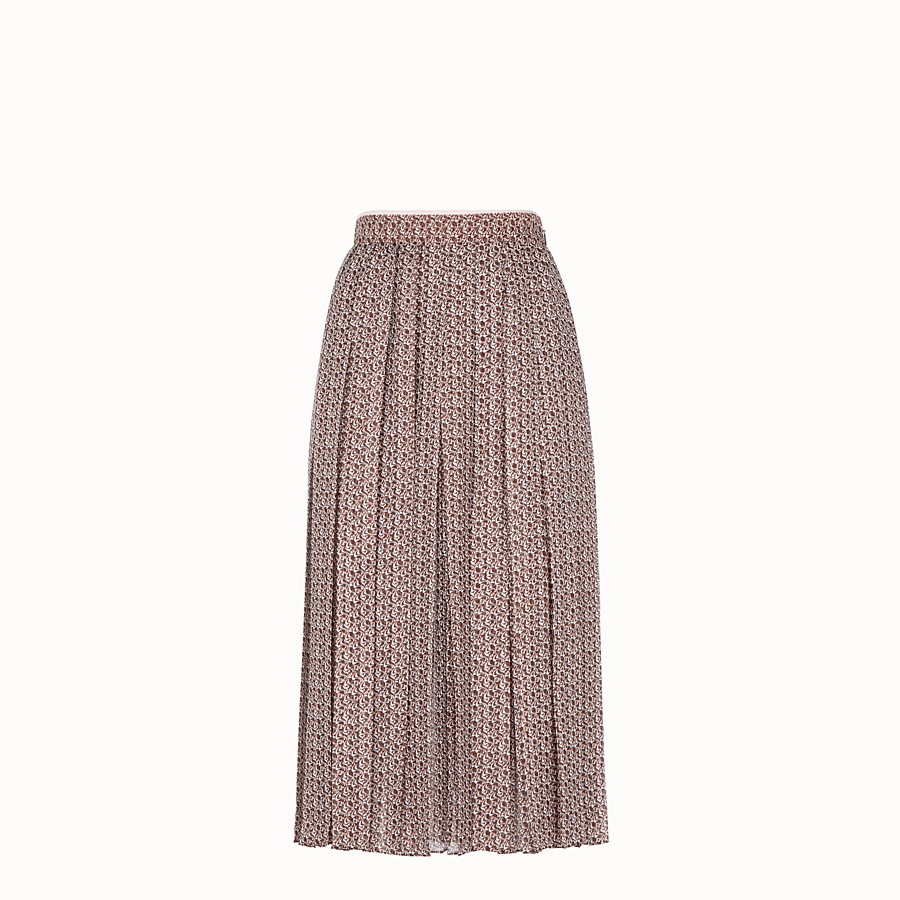 FENDI SKIRT - Skirt in pink and brown silk - view 1 detail
