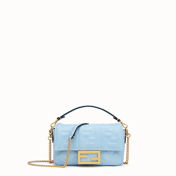 FENDI BAGUETTE - Light blue nappa leather bag - view 1 small thumbnail