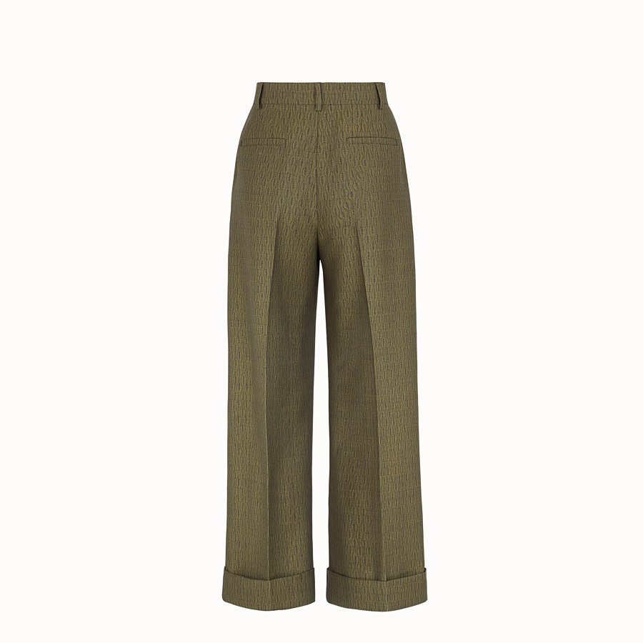 FENDI TROUSERS - Green wool trousers - view 2 detail