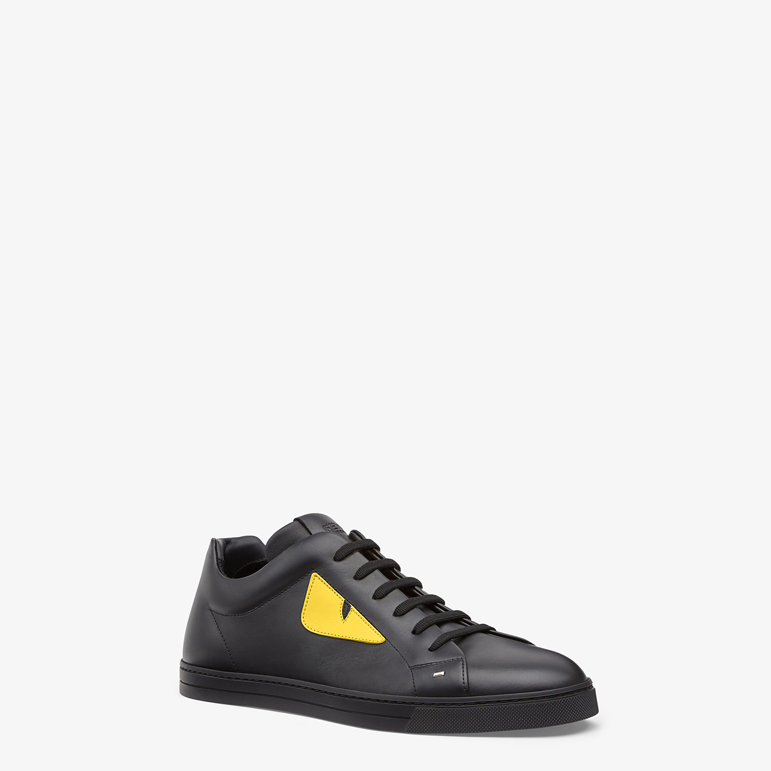 FENDI SNEAKERS - Black and yellow leather low-tops - view 2 detail