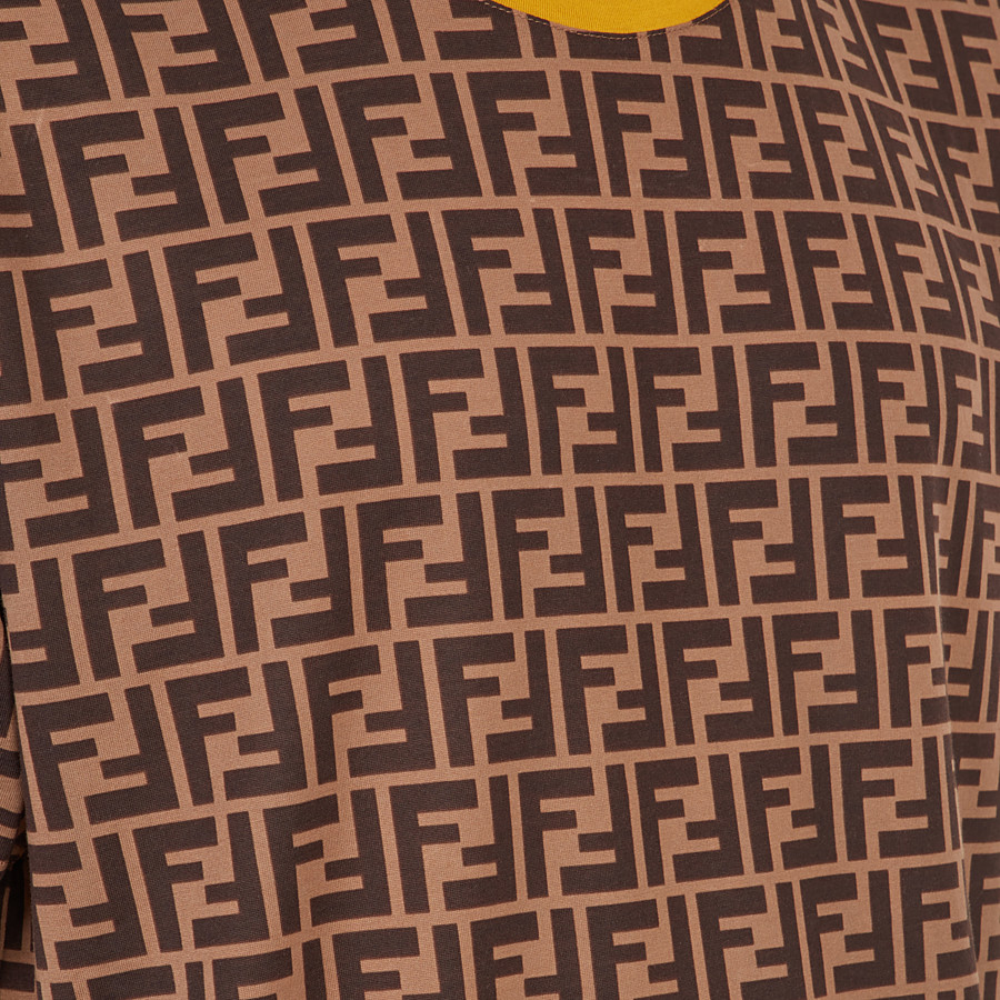 FENDI T-SHIRT - Brown cotton T-shirt - view 3 detail