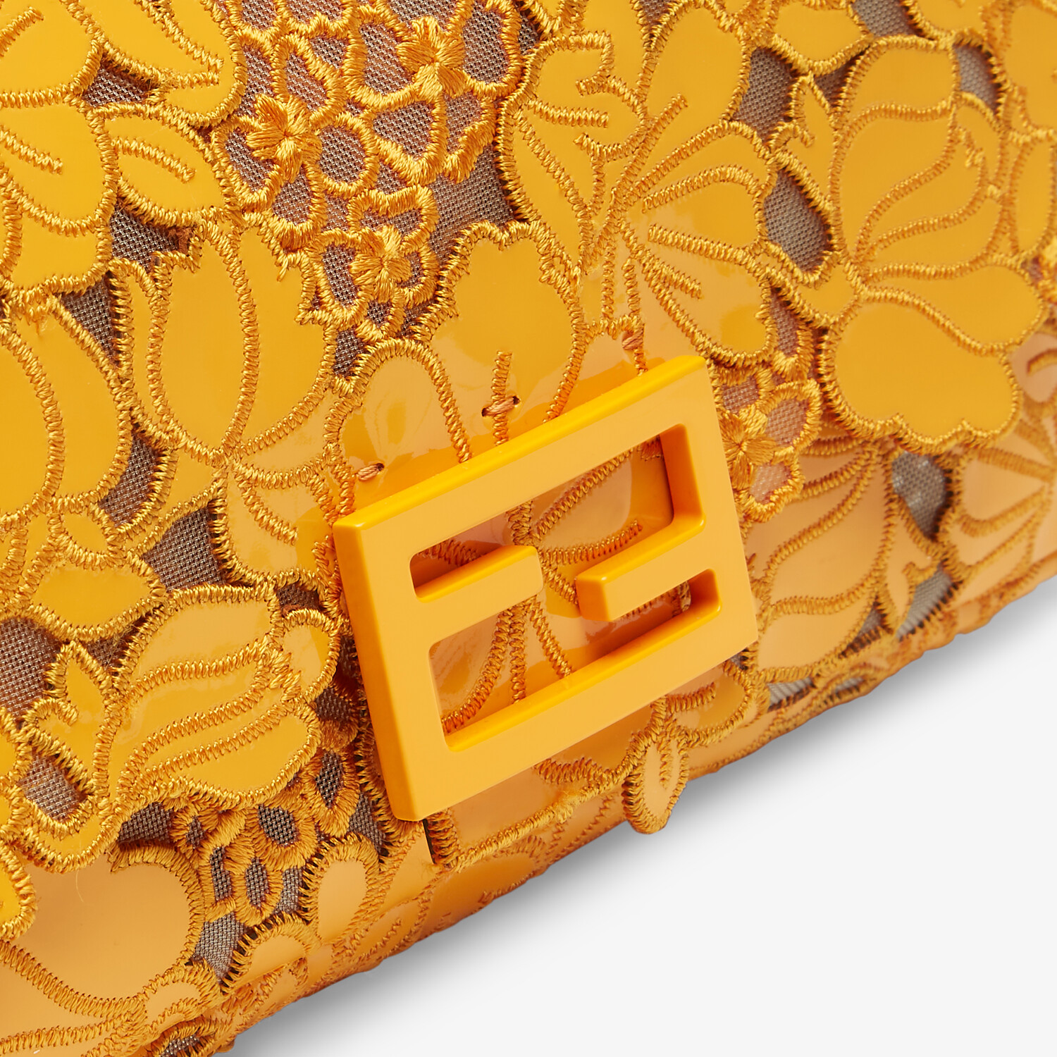 FENDI BAGUETTE - Embroidered orange patent leather bag - view 6 detail