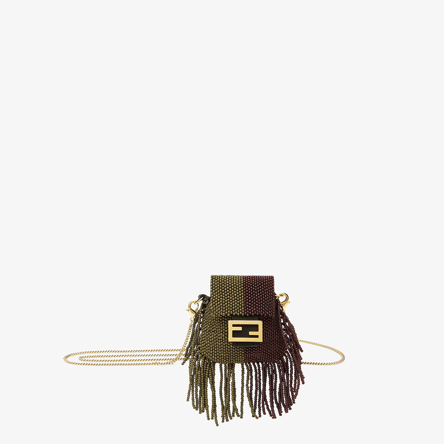 FENDI PICO BAGUETTE CHARM - Charm with brown beads - view 1 detail