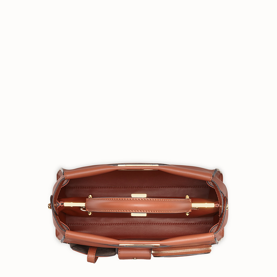 FENDI PEEKABOO REGULAR POCKET - Brown leather bag - view 5 detail