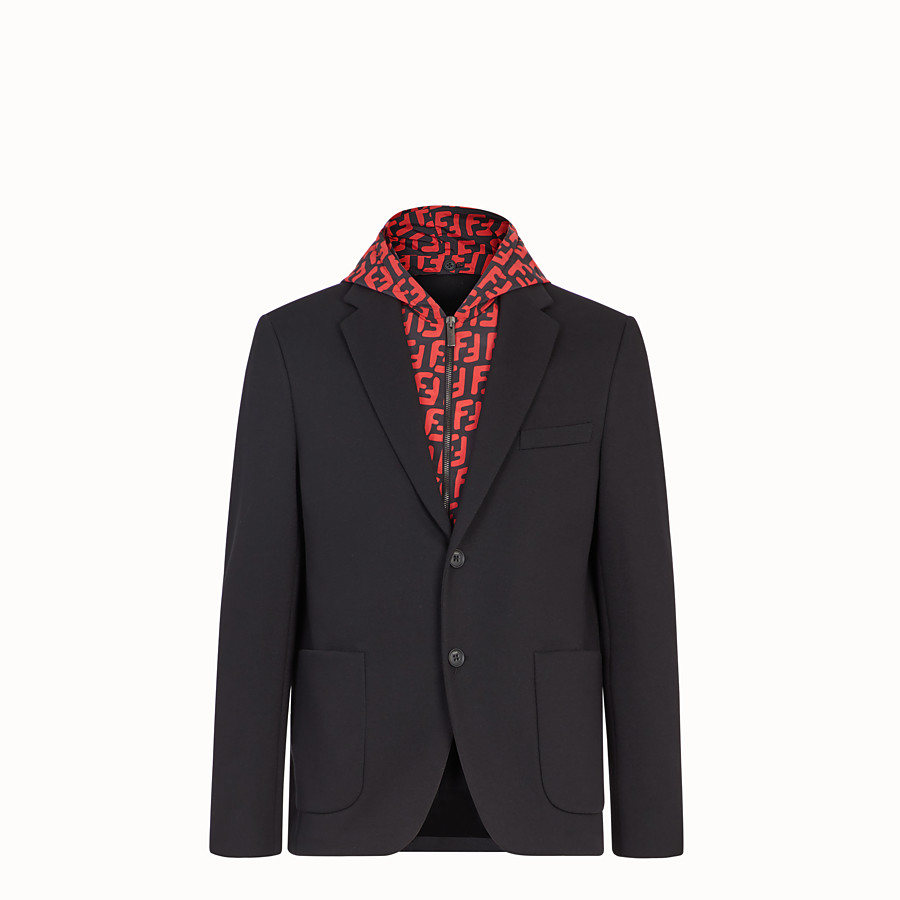 FENDI JACKET - Black cotton jersey blazer - view 1 detail