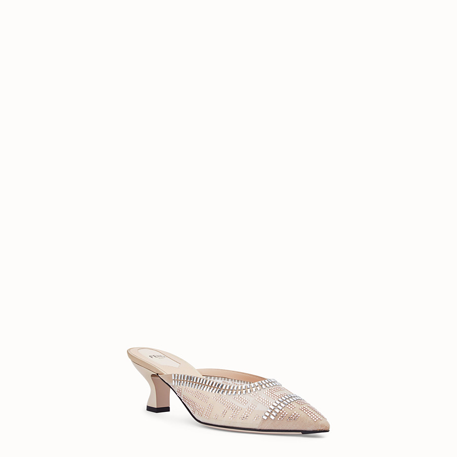 FENDI SABOT - Colibrì in nude leather and mesh - view 2 detail