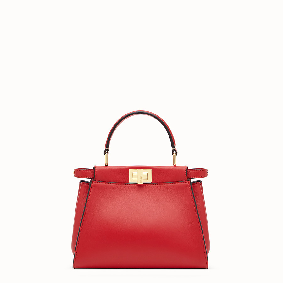FENDI PEEKABOO ICONIC MINI - Red leather bag - view 1 detail
