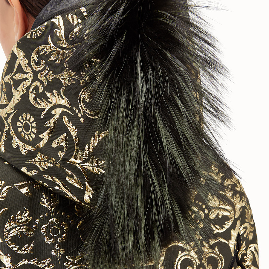 FENDI SKI JACKET - Padded jacket in gold brocade - view 3 detail