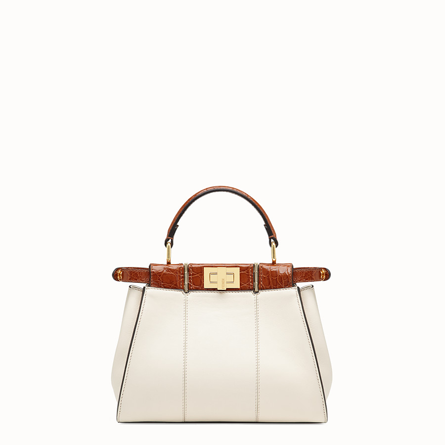 FENDI PEEKABOO ICONIC MINI - White leather bag with exotic details - view 4 detail