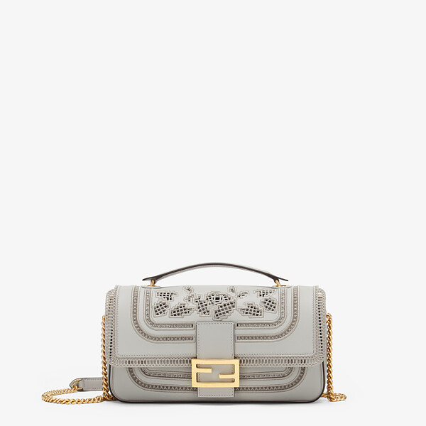 Embroidered grey leather bag