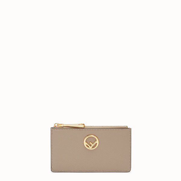 FENDI CARD POUCH - Beige leather card holder - view 1 small thumbnail