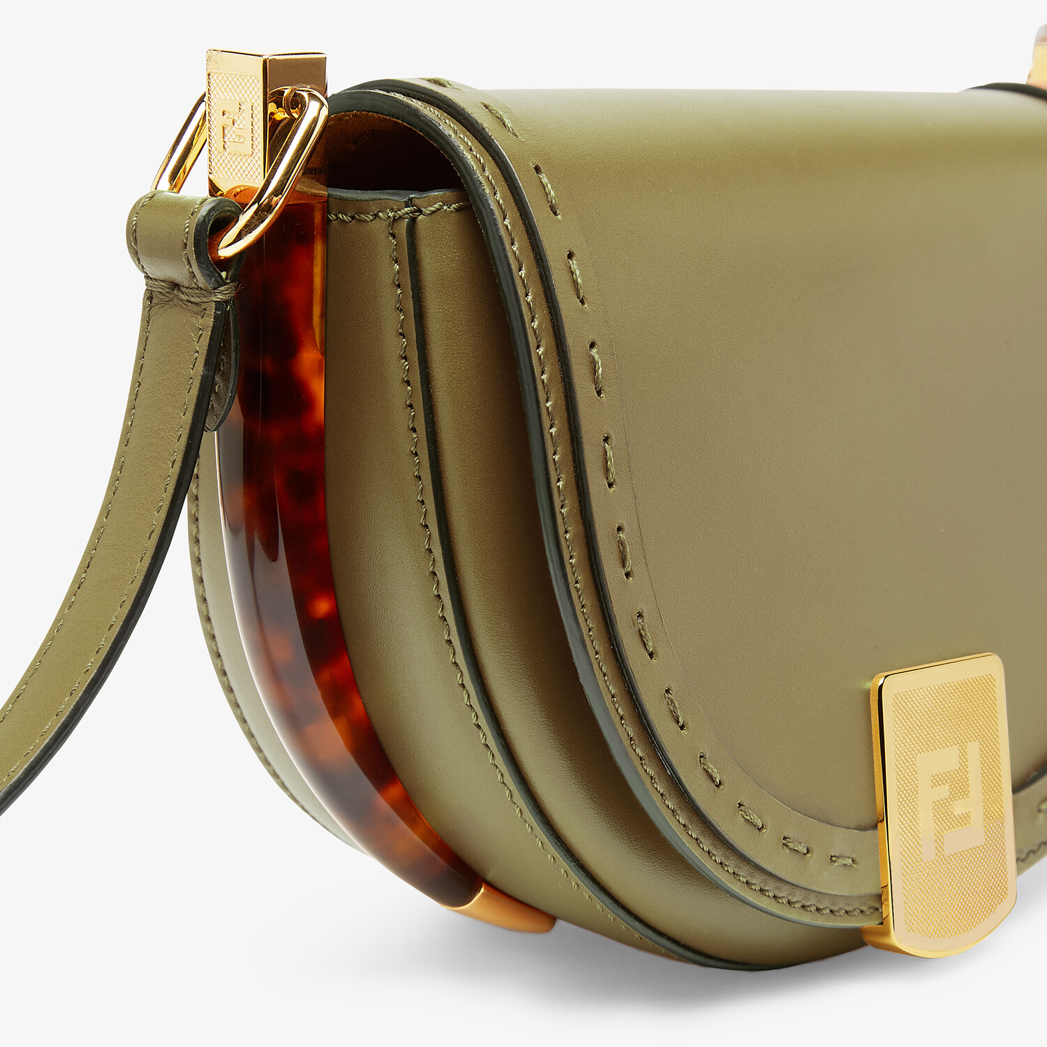 FENDI MOONLIGHT - Green leather bag - view 5 detail