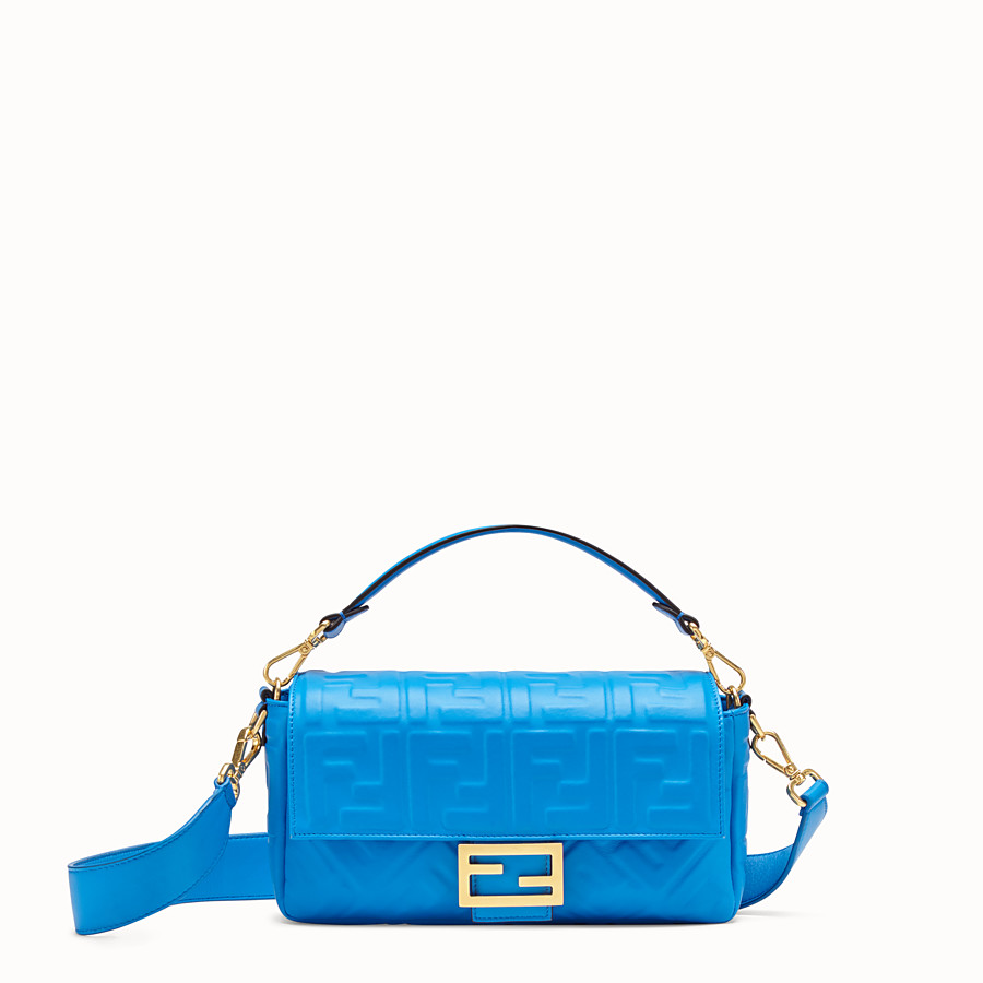 FENDI BAGUETTE - Blue leather bag - view 1 detail