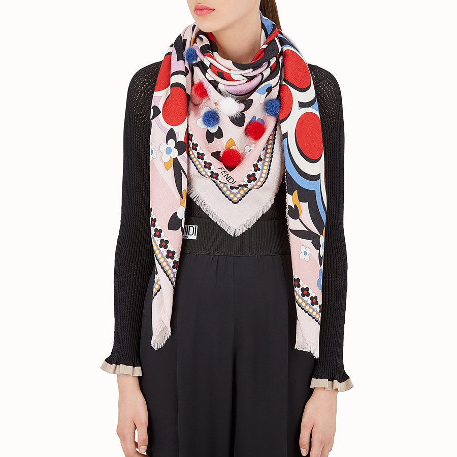 FENDI TOUCH OF FUR SHAWL - Multicolour silk and wool shawl - view 3 detail