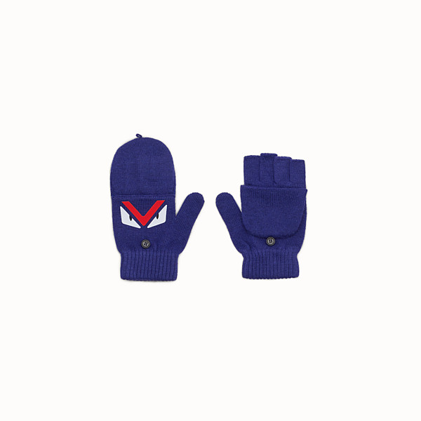 FENDI GLOVES - Junior boy's blue wool gloves - view 1 small thumbnail