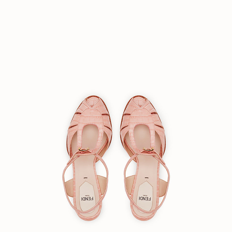 FENDI SANDALS - Pink leather sandals - view 4 detail