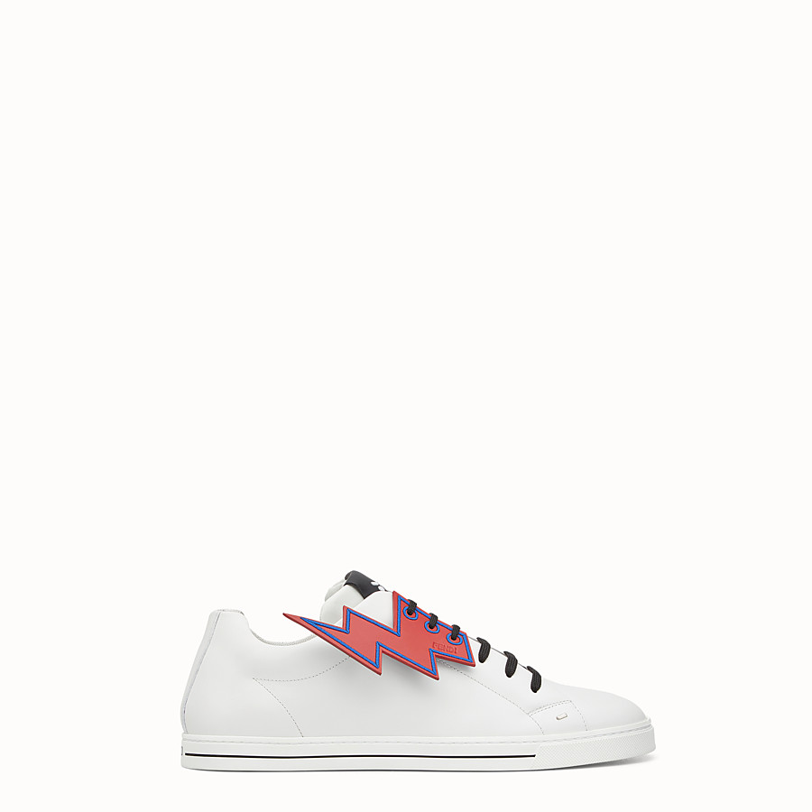 FENDI SNEAKER - White lace-up with lightning bolt - view 1 detail