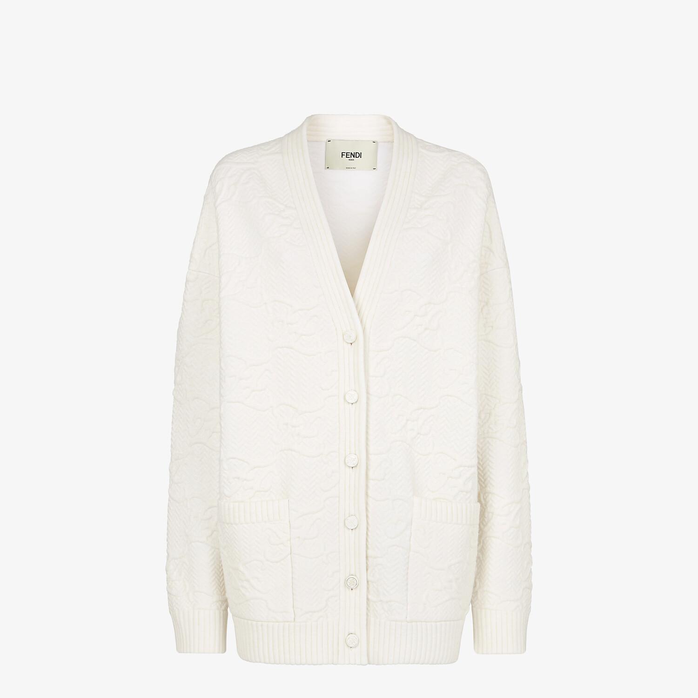 FENDI CARDIGAN - White wool and cashmere cardigan - view 1 detail