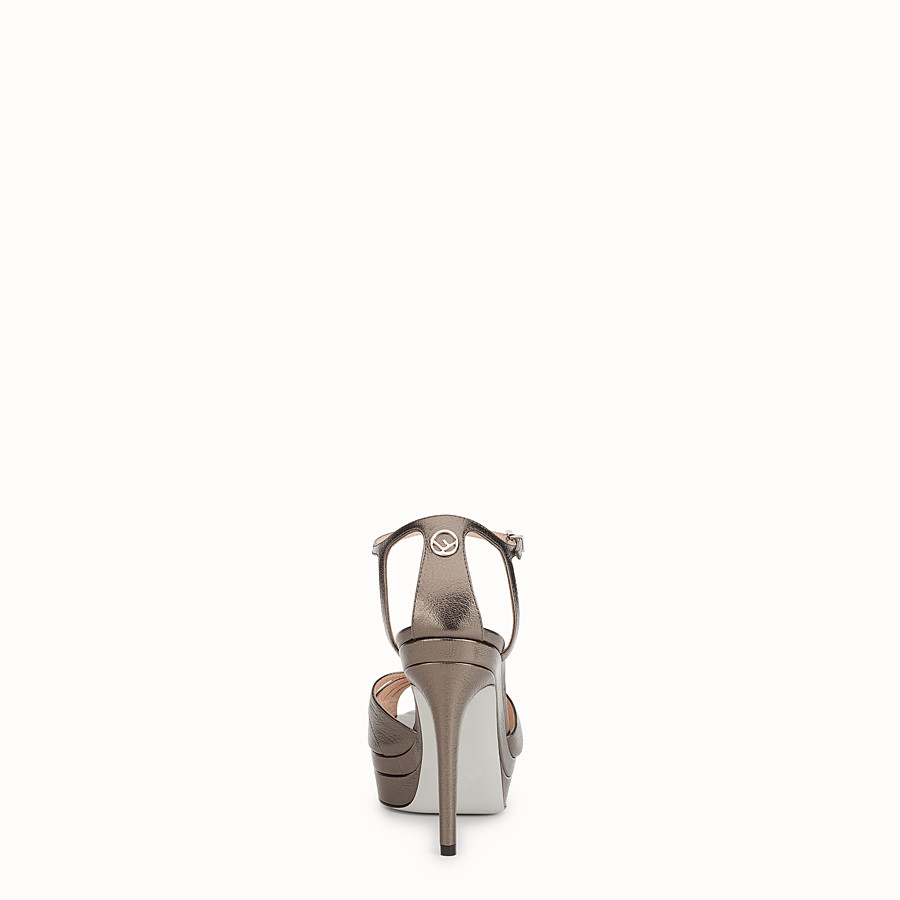 FENDI SANDALS - Grey leather high-heel sandals - view 3 detail