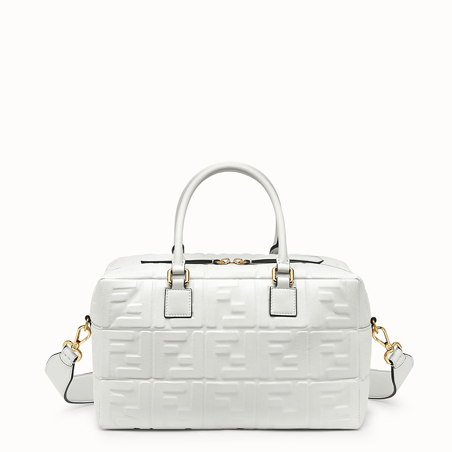 FENDI BOSTON SMALL - White leather Boston bag - view 1 detail