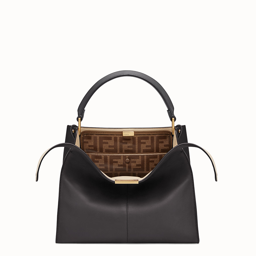 FENDI PEEKABOO X-LITE MEDIUM - Black leather bag - view 1 detail
