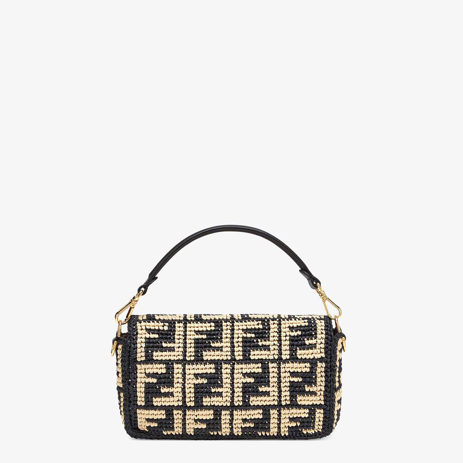 FENDI BAGUETTE - Black raffia FF bag - view 4 detail