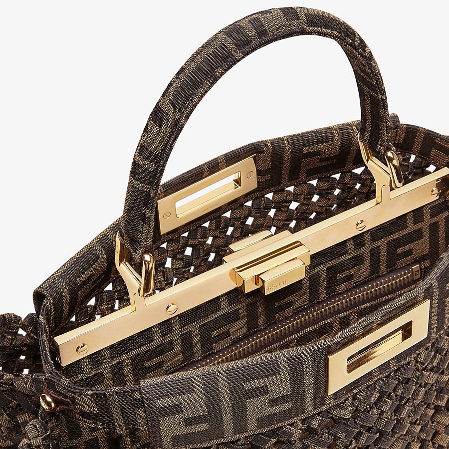 FENDI PEEKABOO ICONIC MEDIUM - Jacquard fabric interlace bag - view 6 detail