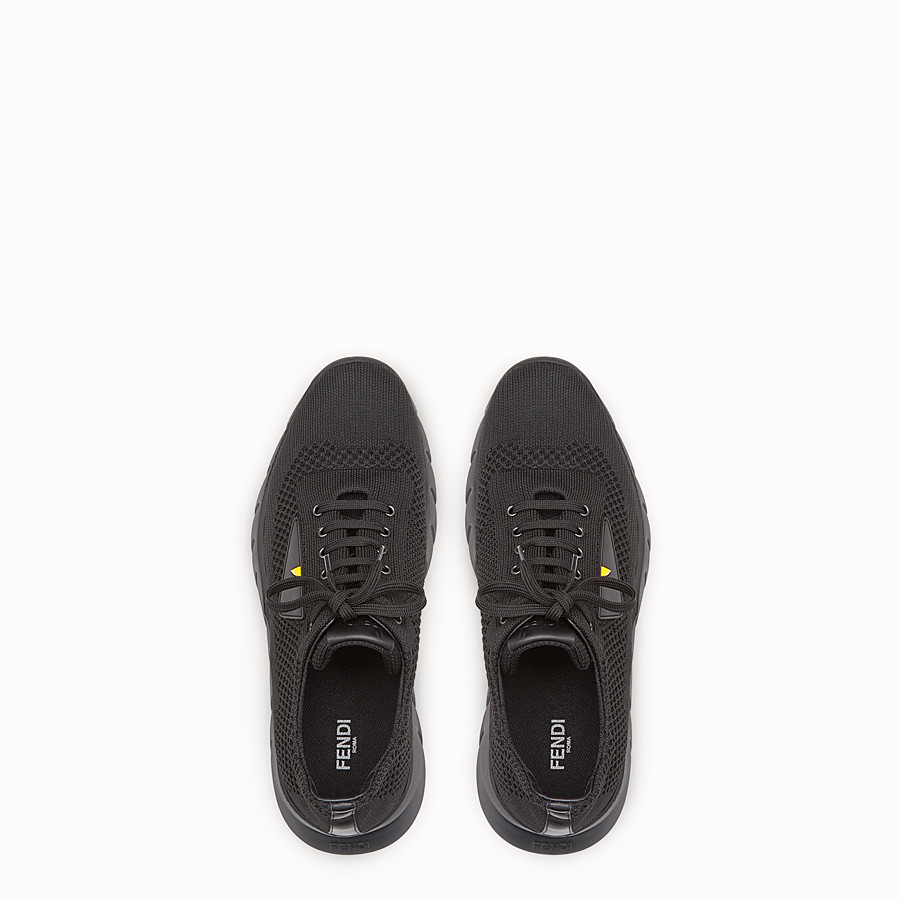 FENDI SNEAKERS - Fabric and black leather running shoes - view 4 detail