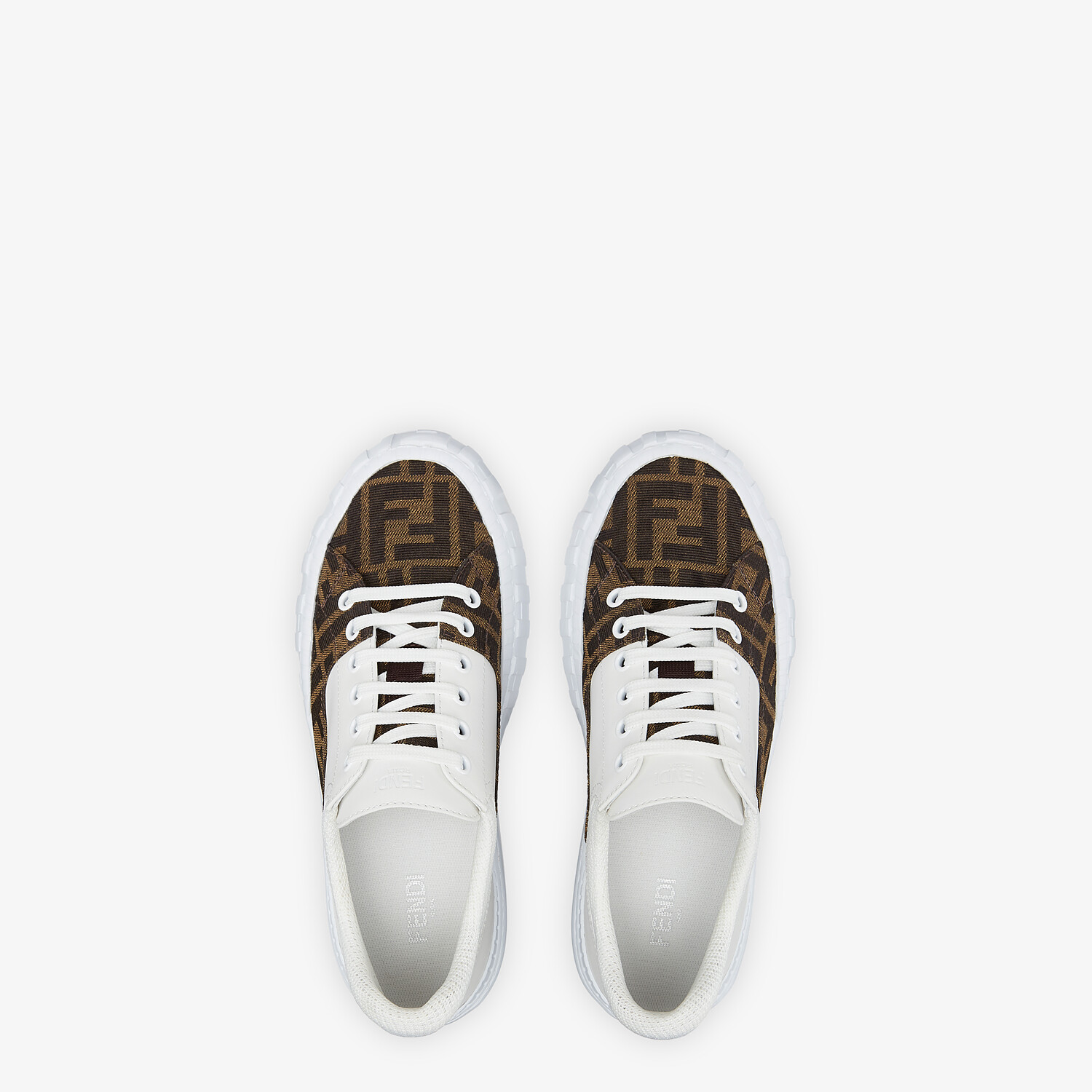 FENDI FENDI FORCE - Brown fabric and leather low tops - view 4 detail