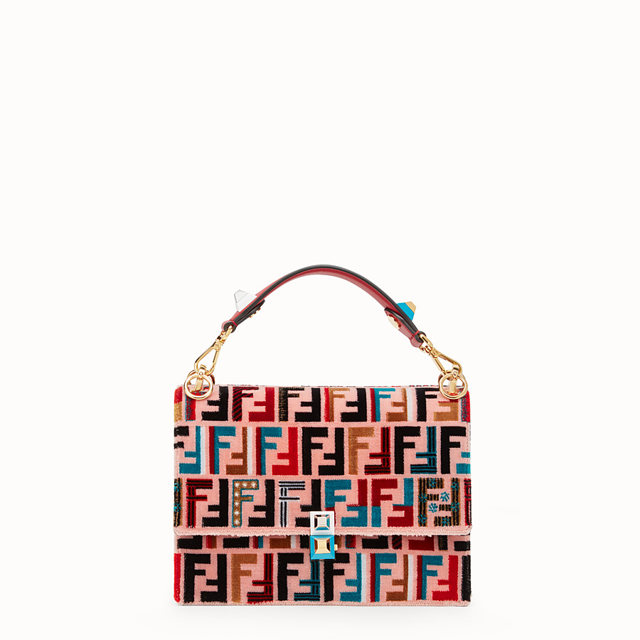 FENDI KAN I - Red leather and silk bag - view 1 detail