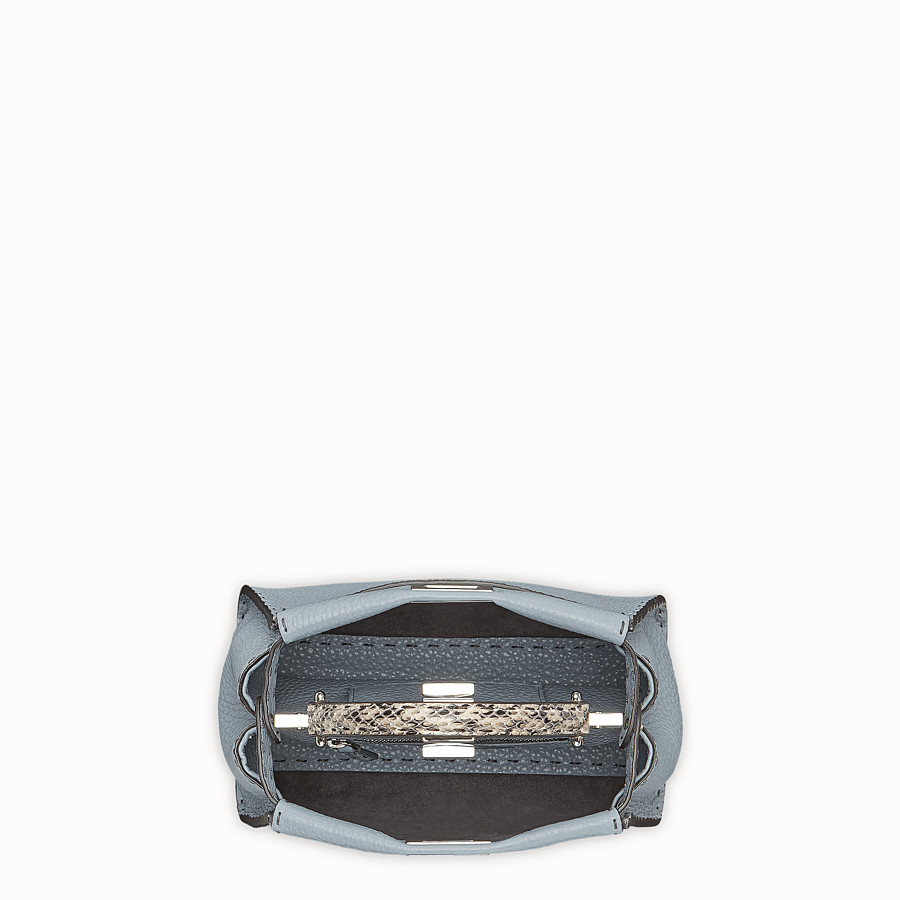 FENDI PEEKABOO MINI - Pale blue leather bag with exotic details - view 4 detail