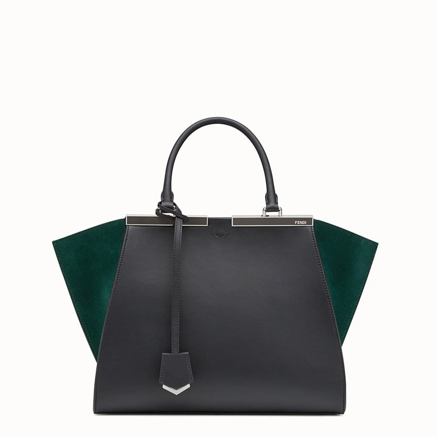 FENDI 3JOURS - Black and green leather shopper bag - view 1 detail