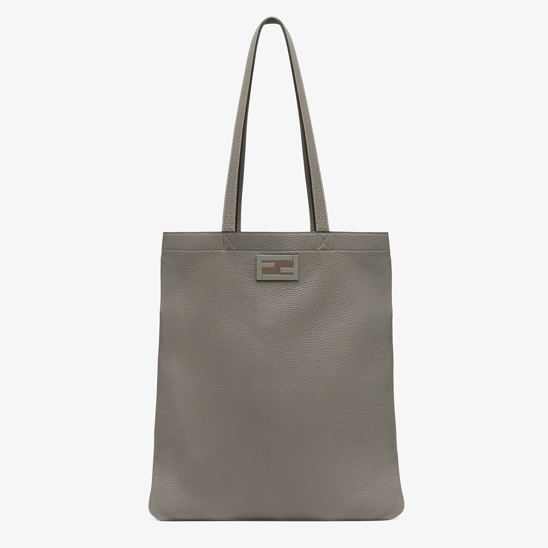 FENDI FLAT BAGUETTE SHOPPING BAG - Light gray leather bag - view 1 detail
