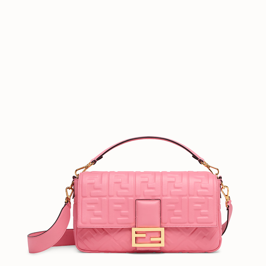 FENDI BAGUETTE LARGE - Pink leather bag - view 1 detail