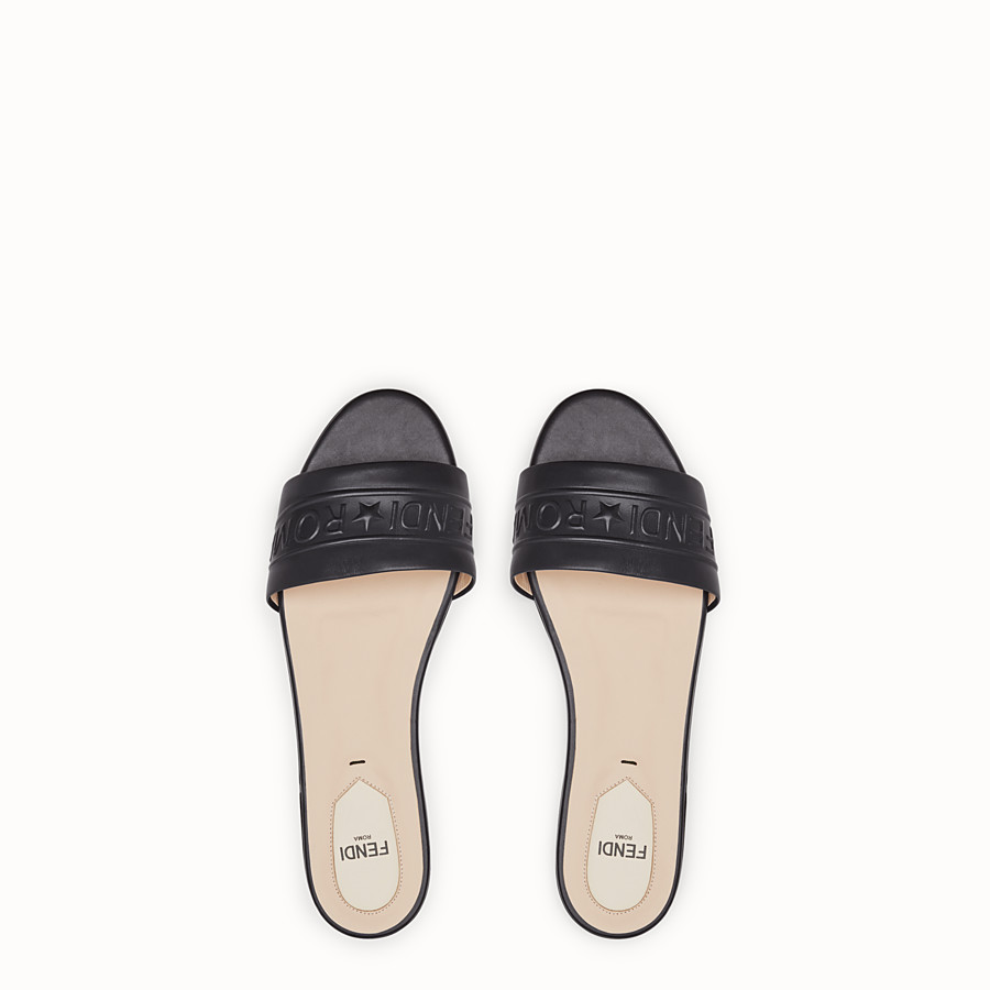 FENDI SLIDES - Black leather slides - view 4 detail