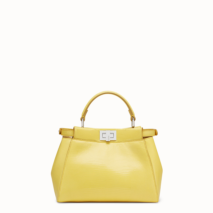 FENDI PEEKABOO ICONIC MINI - Yellow lizard bag - view 3 detail
