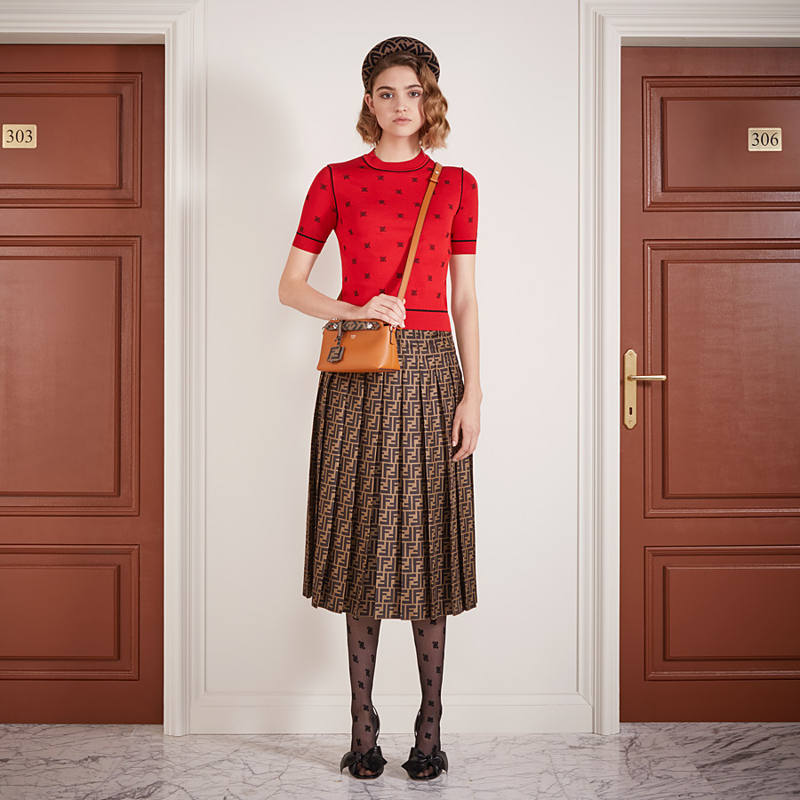 FENDI SKIRT - Brown twill skirt - view 4 detail