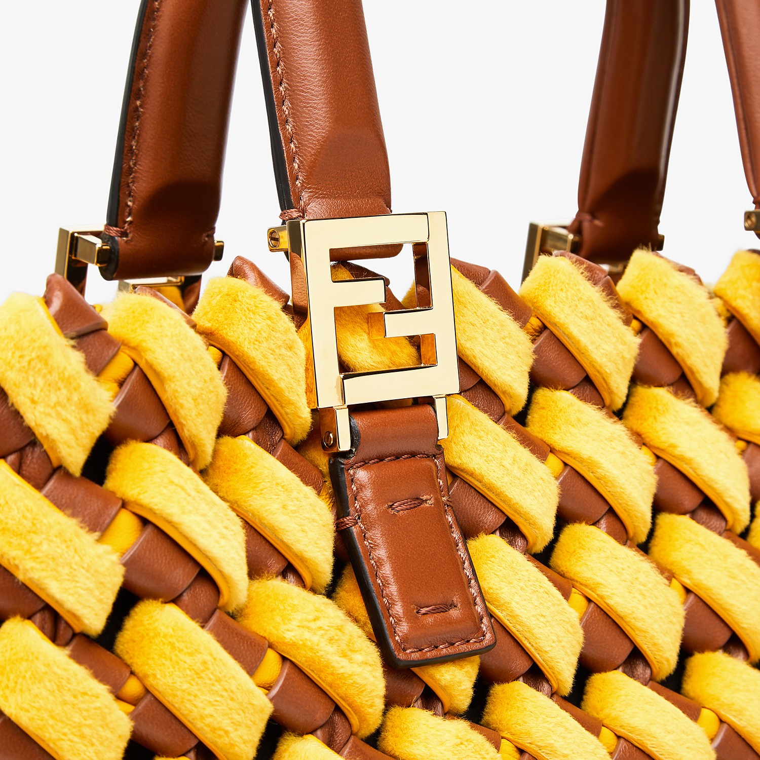 FENDI FF TOTE LARGE - Yellow mink and nappa leather bag - view 6 detail