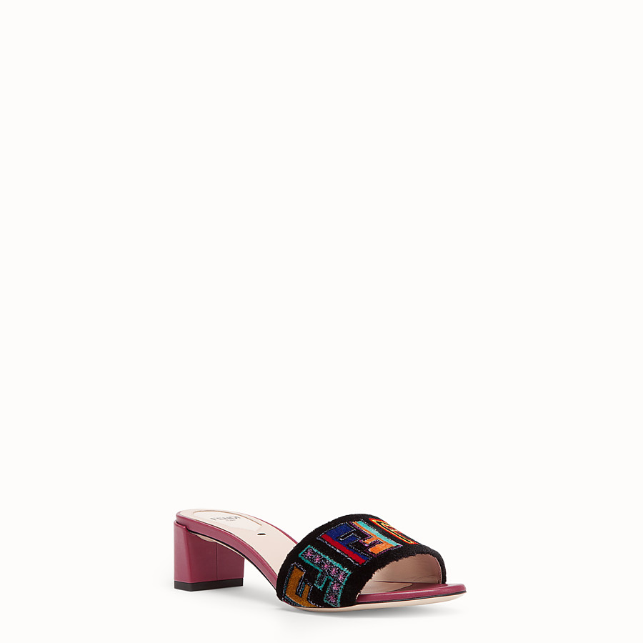 FENDI SANDALS - Multicolour leather and fabric sandals - view 2 detail
